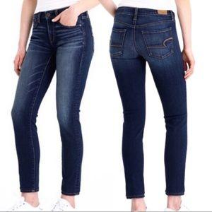 AE Vintage Dark Wash Mid Rise Stretch Skinny Jeans